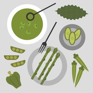 緑の野菜と簡単料理 イラストのイラスト素材 [FYI04592289]