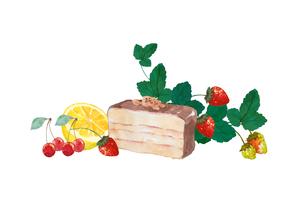 ケーキとフルーツの水彩画のイラスト素材 [FYI04593235]