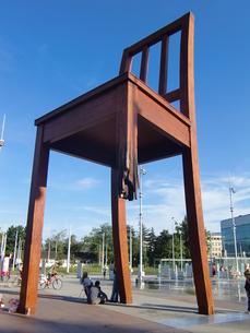 スイス、ジュネーブ、国連ヨーロッパ本部モニュメントの写真素材 [FYI04593533]