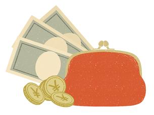 現金-紙幣と財布のイラスト素材 [FYI04593634]