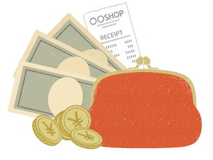 現金-紙幣と財布のイラスト素材 [FYI04593635]