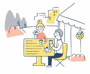 テラス席で食事をするカップルのイラスト素材 [FYI04593956]