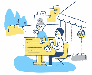 テラス席で食事をするカップルのイラスト素材 [FYI04593957]
