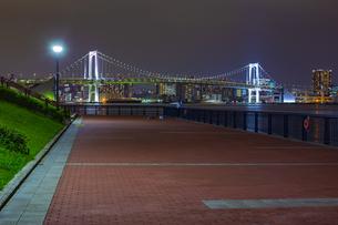 東京都江東区 夜の豊洲ぐるり公園からのレインボーブリッジの写真素材 [FYI04594003]