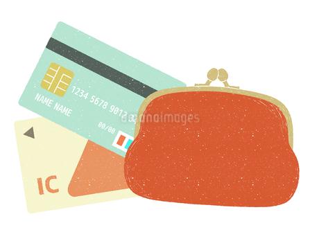 がま口財布とキャッシュレスカードのイラスト素材 [FYI04594102]