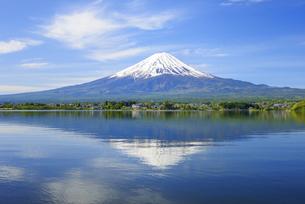 山梨県 初夏の河口湖に映る富士山の写真素材 [FYI04594313]