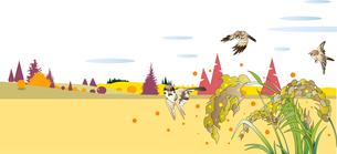 稲穂が実る秋の田園風景のイラスト素材 [FYI04594984]