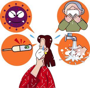 ウィルスから身を守る女性のイラスト素材 [FYI04594992]