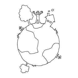 地球の上の生活 線画イラストのイラスト素材 [FYI04595424]