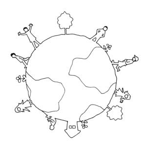 地球の上の人々 線画イラストのイラスト素材 [FYI04595426]