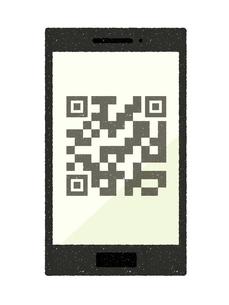 スマートフォン-QRコード決済のイラスト素材 [FYI04595710]