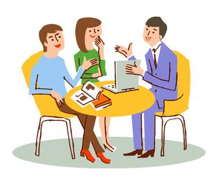 相談するカップルと説明する男性のイラスト素材 [FYI04595913]