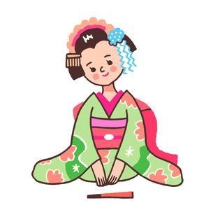 三つ指をついて挨拶する舞妓さんのイラスト素材 [FYI04595919]