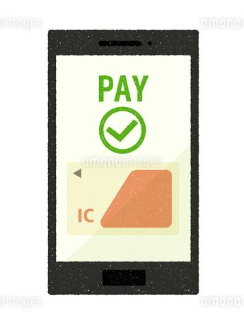 スマートフォン-キャッシュレス・ICカード決済のイラスト素材 [FYI04596081]