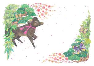 牛と松竹梅の飾り_4のイラスト素材 [FYI04596309]