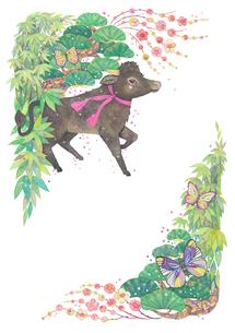 牛と松竹梅の飾り_3のイラスト素材 [FYI04596310]