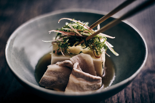 豚肉と胡麻豆腐と香味野菜の写真素材 [FYI04596472]