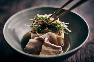 豚肉と胡麻豆腐と香味野菜の写真素材 [FYI04596473]