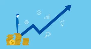 硬貨の上に立つ男性と矢印、投資や売上アップのイメージのイラスト素材 [FYI04596573]