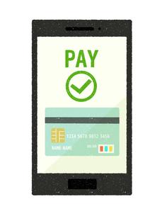 スマートフォン-キャッシュレス・クレジットカード決済のイラスト素材 [FYI04596884]