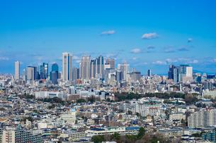 レンガ調外観の三軒茶屋キャロットタワー展望所から見た新宿の超高層ビル群の写真素材 [FYI04597178]
