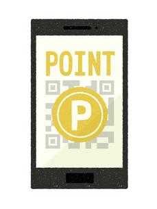 スマートフォン-QRコード決済-ポイントのイラスト素材 [FYI04597316]