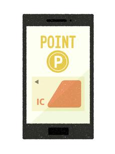 スマートフォン-キャッシュレス・ICカード決済-ポイントのイラスト素材 [FYI04597317]