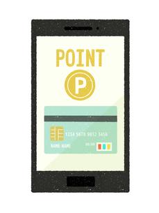 スマートフォン-キャッシュレス・クレジットカード決済-ポイントのイラスト素材 [FYI04597569]