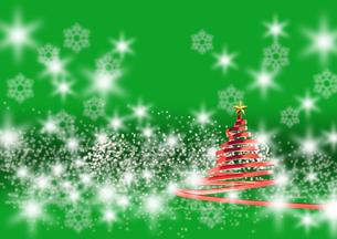 リボンのクリスマスツリー メタリックレッド 緑の背景(2)のイラスト素材 [FYI04598398]