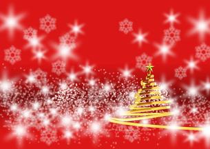 リボンのクリスマスツリー ゴールド 赤い背景(2)のイラスト素材 [FYI04598400]