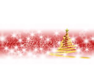 リボンのクリスマスツリー ゴールド 赤と白の背景のイラスト素材 [FYI04598401]