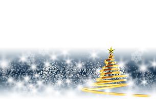 リボンのクリスマスツリー ゴールド ミッドナイトブルーと白の背景のイラスト素材 [FYI04598402]
