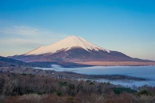 早春のパノラマ台(山中湖村)から青空を背景にした富士山を望むの写真素材 [FYI04598612]