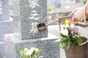 お墓に水をかける男性の写真素材 [FYI04598782]
