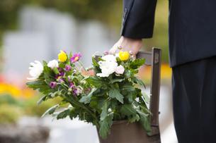 手桶に入った仏花を持つ男性の写真素材 [FYI04598831]