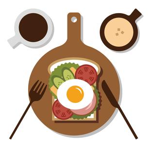 朝食とオープンサンドのイラスト素材 [FYI04599349]