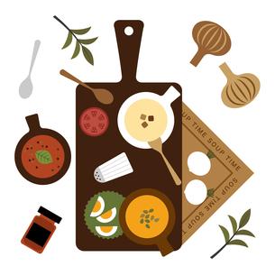 カッティングボードとスープのイラスト素材 [FYI04599358]