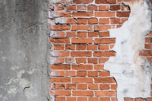 煉瓦とコンクリートの壁の写真素材 [FYI04599579]