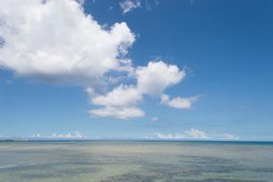 快晴の青空に白い雲と遠浅の海岸の写真素材 [FYI04599599]