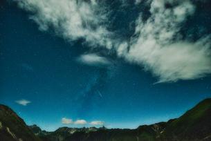 補高の空に天の川と流れ星の写真素材 [FYI04599746]