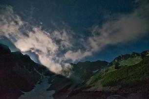 月に照らされた穂高連峰の写真素材 [FYI04599753]