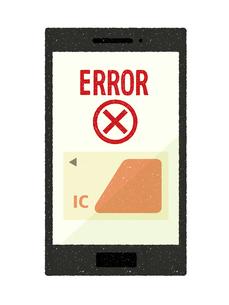 スマートフォン-キャッシュレス・ICカード決済-エラーのイラスト素材 [FYI04599818]