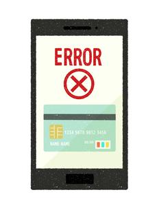スマートフォン-キャッシュレス・クレジットカード決済-エラーのイラスト素材 [FYI04600268]
