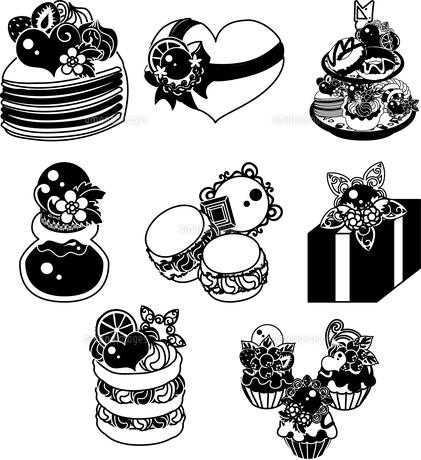 チョコレートのミルクレープと盛り合わせとパンケーキとジャムとマカロンとカップケーキなどのアイコンのイラスト素材 [FYI04600431]