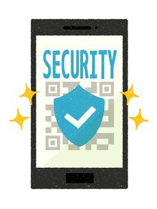 スマートフォン-QRコード決済-安全のイラスト素材 [FYI04600821]