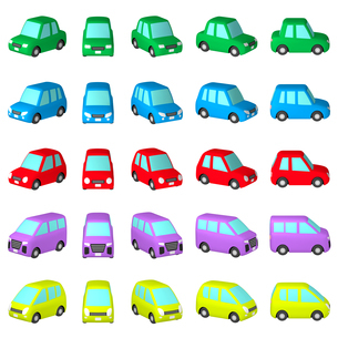 イラスト素材 デフォルメ自動車 5車種セット(1) マルチアングル カット集のイラスト素材 [FYI04601020]