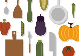 夏野菜で料理のイラスト素材 [FYI04601138]
