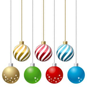 クリスマス オーナメントボール 鎖付き イラスト素材 7パターンセット(1)のイラスト素材 [FYI04601140]