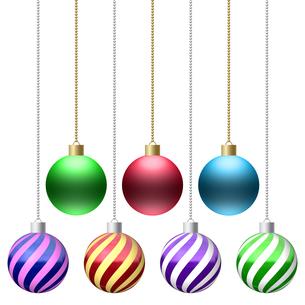 クリスマス オーナメントボール 鎖付き イラスト素材 7パターンセット(2)のイラスト素材 [FYI04601141]