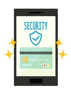 スマートフォン-キャッシュレス・クレジットカード決済-安全のイラスト素材 [FYI04601307]